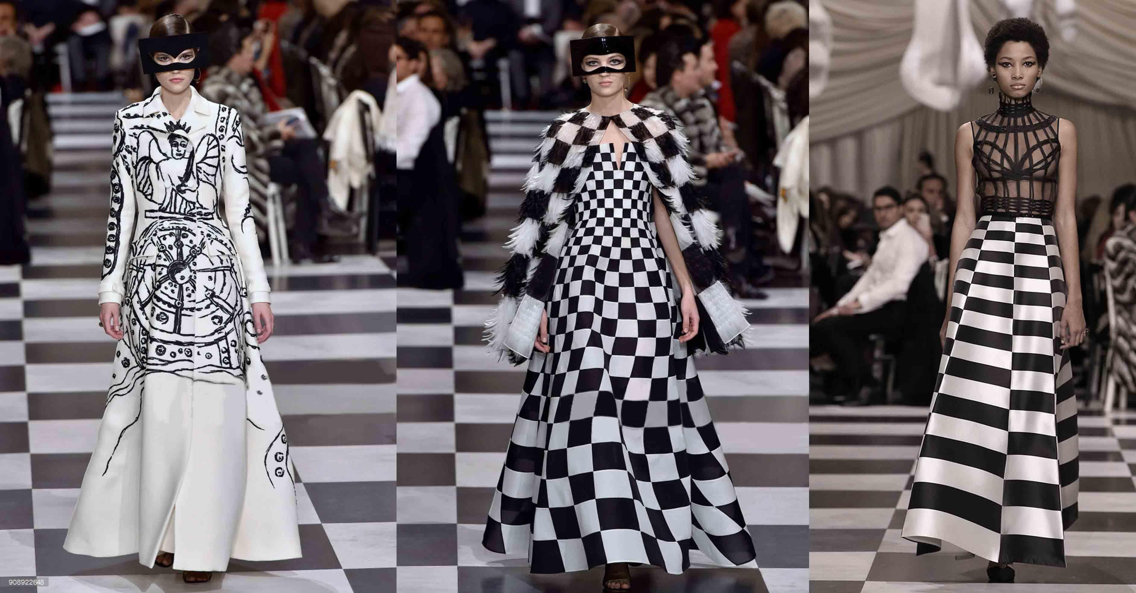 Dior sul pavimento a scacchi e la nuova moda del surrealismo mistico. 3662fa382d97